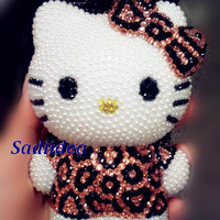 3D Bronw/pink Leopard cell phone Cases-cute kitty cat iPhone 4 Case, Swarovksi Crystals mix pearl Bling iPhone 5 Case- iPhone 4s Case