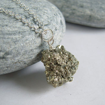 Pyrite Necklace, Rough Rock Pyrite Stone On Sterling Silver Chain, Raw Gemstone Jewelry