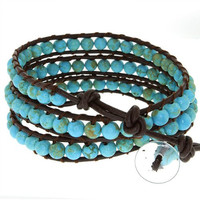"24"" Blue Beads on Brown Leather Wrap Bracelet with Snap Button Lock"