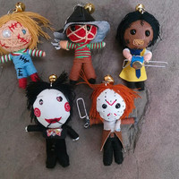 5 String Doll Freddy Jigsaw Jason Friday13 Chucky Leatherface Killer Voodoo Scary Toy Funny Keyring Keychain Key Ring Key Chain Bag Car Deco