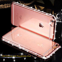 New For iPhone 7 & 7 Plus Diamond Case For iPhone 6 6s 6 plus Ultra Slim Clear Soft TPU Crystal Rhinestone Silicone cover back