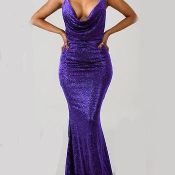 New Purple Bright Wire Spaghetti Strap Tie Back Backless Mermaid Bodycon Prom Party Maxi Dress