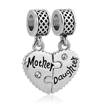 JewelryHouse Mom Mother Daughter amp Son Heart Love Matching European Charms fit Bracelet