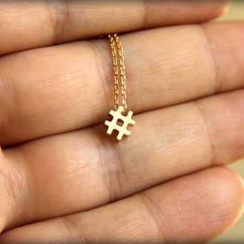 Hashtag Necklace, Available in Silver or Gold