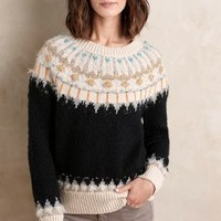 Sleeping on Snow Beaded Fairisle Pullover in Blue Motif Size: