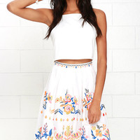 Fantastic Fiesta Ivory Embroidered Midi Skirt