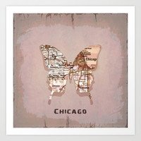 chicago butterfly Art Print by Steffi by findsFUNDSTUECKE