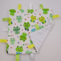 Frog Tag Ribbon Blanket Neutral Baby Gift