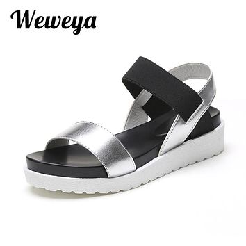 Weweya 2017 New Summer Women Sandals Shoes Fashion Peep toe Flats Shoes Woman Roman Female Sandals Shoes Women Mujer Sandalias