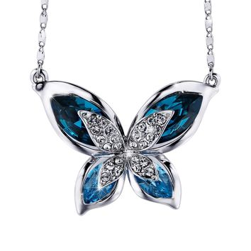 Valentines Day Gifts Butterfly Women Pendant Necklace With Blue Swarovski Crystals, Jewelry For Mom Gifts For Girlfriend