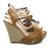 Legend1 Peep Toe Cut Out Design Braided Raffia Wrap Platform Wedge Sandals