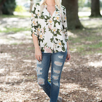 Relaxed Floral Blouse - White