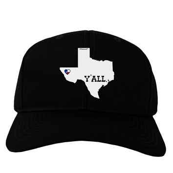 Texas State Y'all Design with Flag Heart Adult Dark Baseball Cap Hat by TooLoud