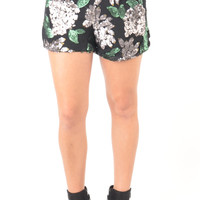 Pewter and Forest Green Sequin Floral Design Shorts