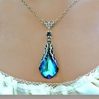 Victorian Crystal Blue Necklace Free by Fineartreflections on Etsy