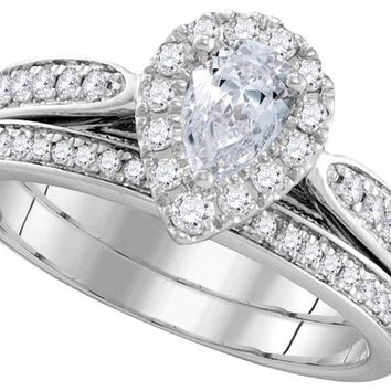 14kt White Gold Pear Diamond Bridal Wedding Engagement Ring Band Set 1.00 Ctw