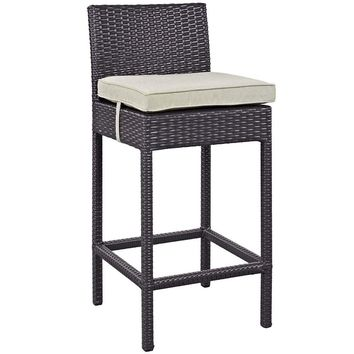 Lift Outdoor Patio Espresso White Bar Stool By Modway