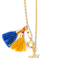 Charm & Tassel Necklace in Gold