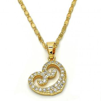 Gold Layered 04.304.0006.18 Fancy Necklace, Heart Design, with White Cubic Zirconia, Polished Finish, Golden Tone