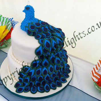 Two Tier Peacock Design Wedding Cake with Handmade Fondnant Peacock Feathers