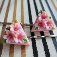 PINK floral piece cake hair pin by papermache on Etsy