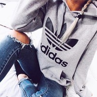 Gray Adidas Print Long Sleeve Hoodies Sweater