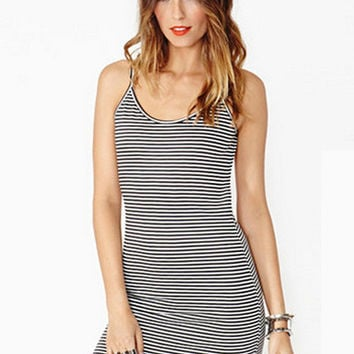 Black and White Striped Spaghetti Strap Backless Mini Bodycon Dress