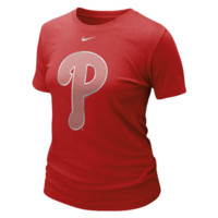 Nike Philadelphia Phillies Ladies Blended Graphic Tri-Blend T-Shirt - Red