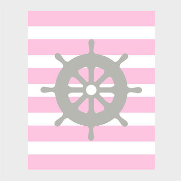 Nautical Gray Wheel Pink Stripes Print Nursery Decor Baby Print CUSTOMIZE YOUR COLORS 8x10 Prints Nursery Decor Art Baby Room Decor Kids