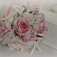 Soft Rose Petals - Wedding Bridal Bouquet Silk Flower - Burlap - Swarovski - Pearls - White Starfish - Beach Wedding