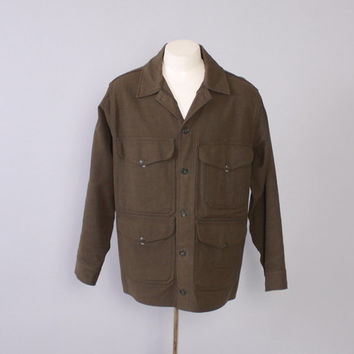 Vintage 60s FILSON JACKET / 1960s Men's Green Wool CRUISER Hunting Winter Coat L
