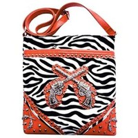 Western Zebra Rhinestone Guns Cross Body Purse Hipster Messenger Bag (orange)