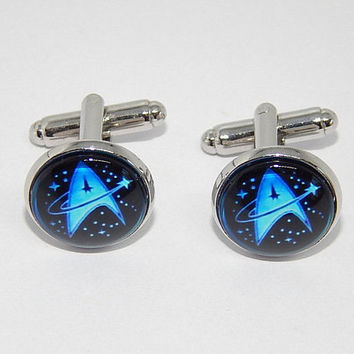 Star trek logo cufflinks, star trek jewelry, star trek simbol, star trek emblem, Starfleet cufflinks, Starship cufflinks, wedding cufflinks