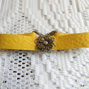 Sunny Yellow Leather Bracelet, Pewter Flower Bracelet 7 1/2 in x 1/2 in - qty 1