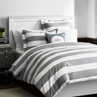 Cottage Stripe Duvet Cover + Sham, Full/Queen, Light Grey