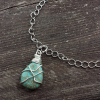 Turquoise wire wrapped necklace silver blue southwestern minimalist boho gypsy style fashion layer accent semi precious stone bead handmade