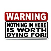 Motorcycle Helmet Sticker - Warning: Nothing in Here is Worth Dying For!