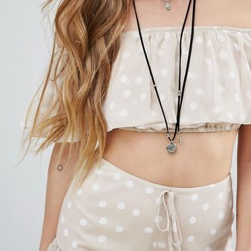 Reclaimed Vintage Inspired Off Shoulder Crop Top Co-Ord at asos.com