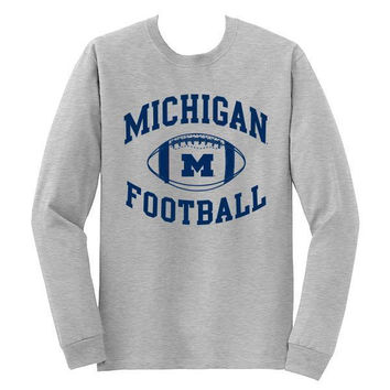 Michigan Football LS Tee - Sport Grey