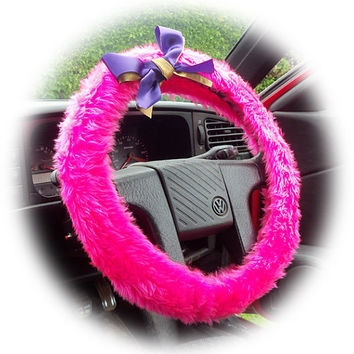 Barbie Pink faux furry fur fluffy fuzzy car Steering wheel cover with Purple & Gold bow