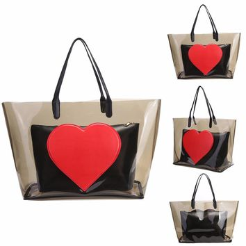 Big Summer Beach Bag PVC Clear Transparent Bags Handbags Women Shoulder Bags Large Capacity Composite Bag Set Heart Pattern Tote
