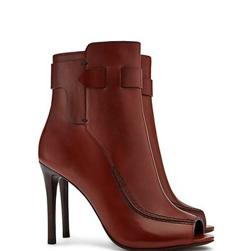 Tory Burch Saddle-stitch Open-toe Bootie