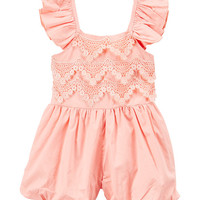 Light Coral Lace-Accent Angel-Sleeve Romper - Infant & Kids
