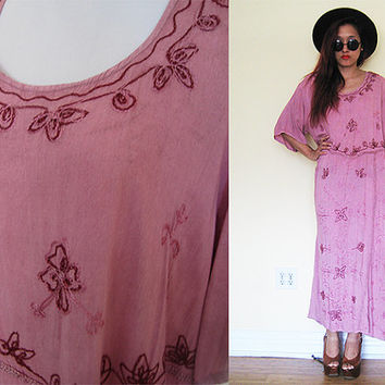 Vintage 70's pink embroidered hippie bohemian boho festival gypsy mumu lounge dress maxi