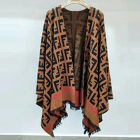 FENDI Autumn Winter Fashion Women F Letter Jacquard Tassel Shawl Cloak Coffee I13897-1