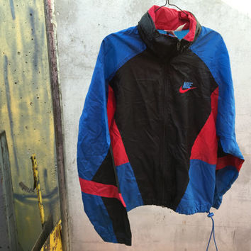 Vtg Nike Black Blue Red Windbreaker Jacket