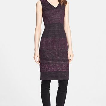 Women's St. John Collection Banded Ribbon Knit V-Neck Dress,