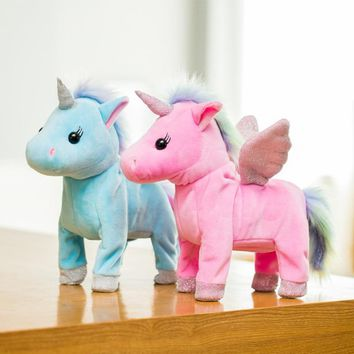 LED Light Electric Walking Unicorn Plush Toy Stuffed Animal Toy Electronic Music Unicorn Toy for Children Christmas Gifts