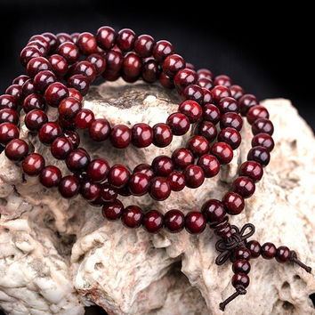 Trendy Unisex Sandalwood Buddhist Buddha 6mm 108 Prayer Beads Rope Bracelet Color Red Black Beige Jewelry BL-0309