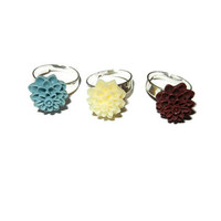 Set of 3 Resin Rings, Light Blue, Creme, Maroon